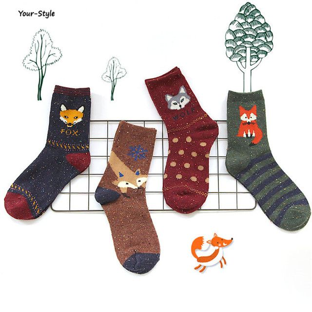 Your-Style 1 Pair/lot Lovely Fox Wolf Striped 3D Socks Spring Winter Thick Style Creative Cute Women Cotton Socks
