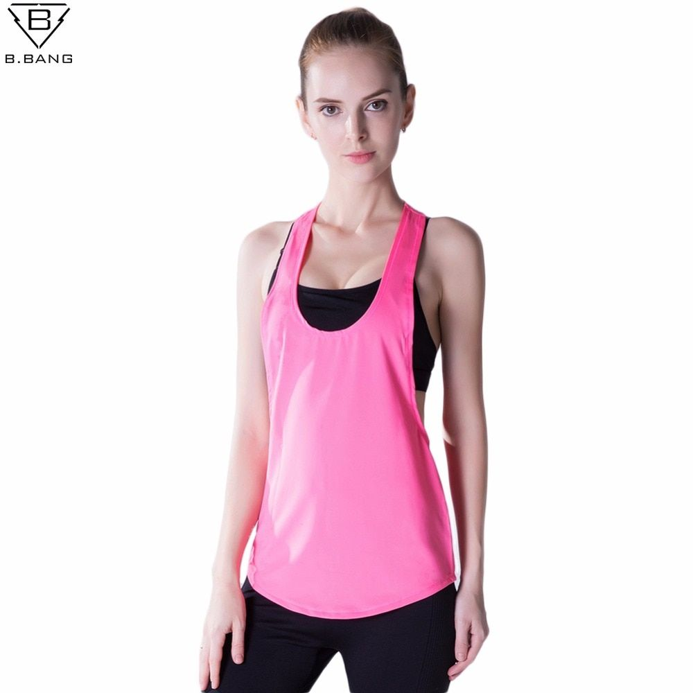 B.BANG Women Sport Shirts Yoga Tops Sleeveless Vest Fitness Running Clothes for Female Quick Dry Breathable Tank Tops S/M/L