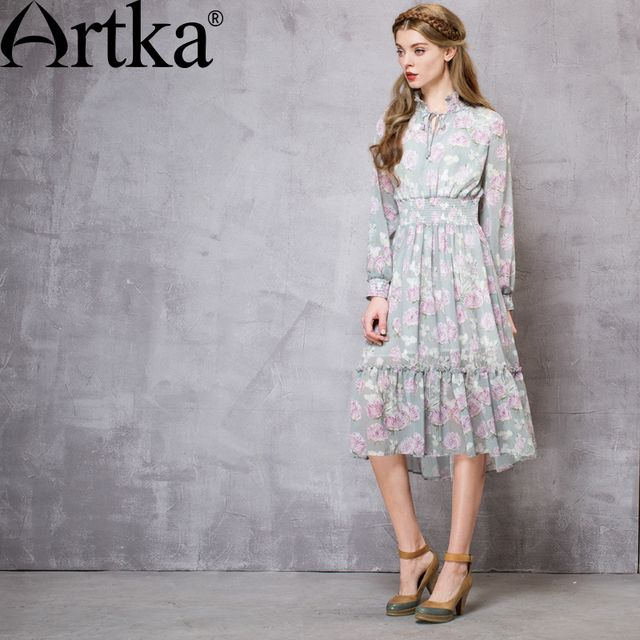 Artka Women's Autumn New Pastoral Style Printed Dress Stand Collar Lantern Sleeve Empire Waist Dress With Ruffles LA13563C