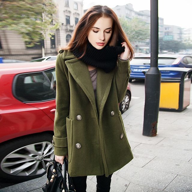 Hot 2016 Autumn and winter New Fashion Retro double breasted woollen cloth coat and long sections woolen coat women