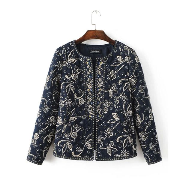 2016 Autumn and Winter New Arrival Women Vintage Short Quilted Jackets, Female Fashion Casual Embroidery Cotton-padded Coats