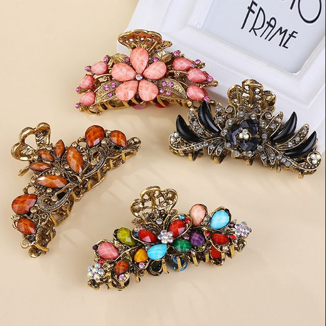 2 PCS Vintage Retro Big Flower Colorful Crystal Hair Claws Metal Antique Rhinestone Grab Clip For Women Hair Accessories Jewelry