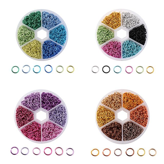 6 Colors Aluminum Wire Open Jump Rings Split Rings Jewelry Findings Mixed Color 6mmx0.8mm about 180pcs/color 1080pcs/box
