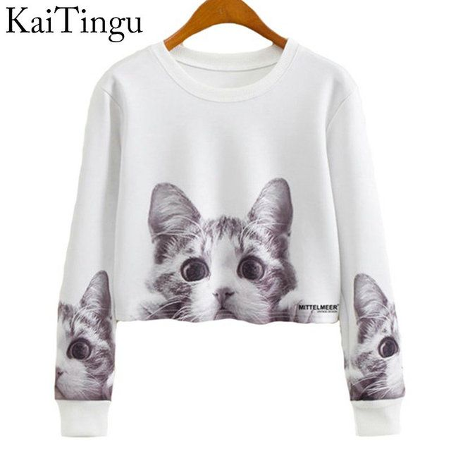 KaiTingu 2017 Autumn Women Casual Pullover Harajuku Fashion Crop Tops Round Neck Long Sleeve Ladies Cat Short Cropped Sweatshirt