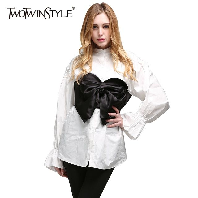 TWOTWINSTYLE 2017 Summer Women Kimono Two Piece Set Flare Long Sleeves White Shirt Blouses Bowknot Tube Tops Black Croset Casual