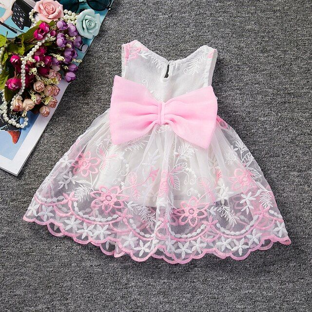Baby Girl Dress Infant Princess Wedding Clothing Cute Bow Little Baby Girl 1 Year Birthday Party Dress Newborn Christening Gown