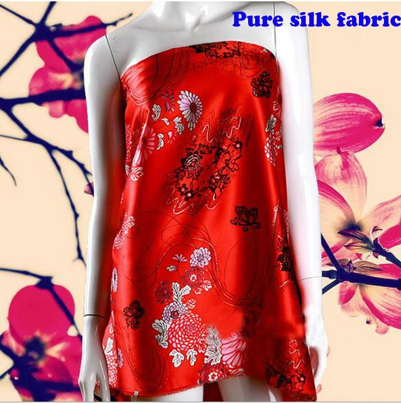 136*100cm1pc Good Silk Brocade Fabric Pure 100%Silk Fabric Red Brocade Silk Fabric Sewing Material Diy Textile Wedding Dress
