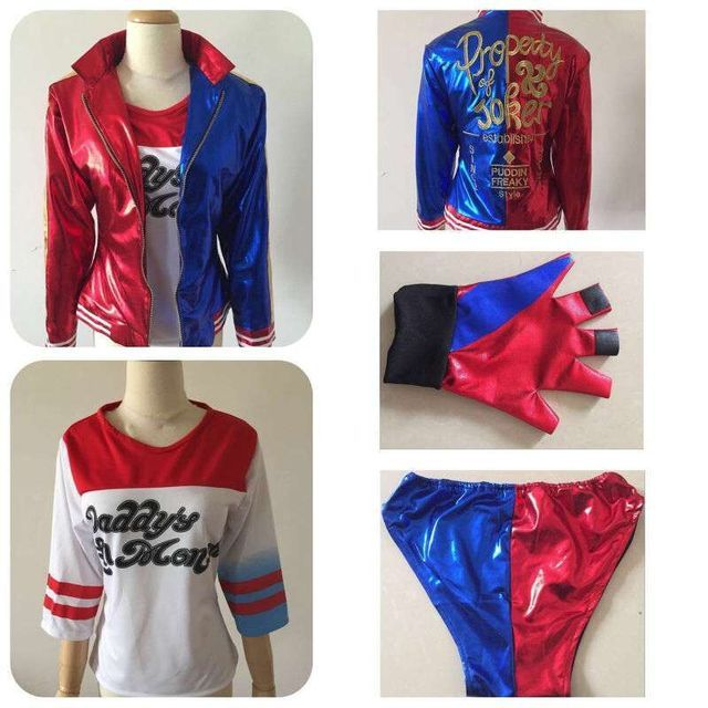 2016 suicide squad harley quinn Cosplay Costume Female Clown Halloween Anime Coat Jacket One Set Uniform