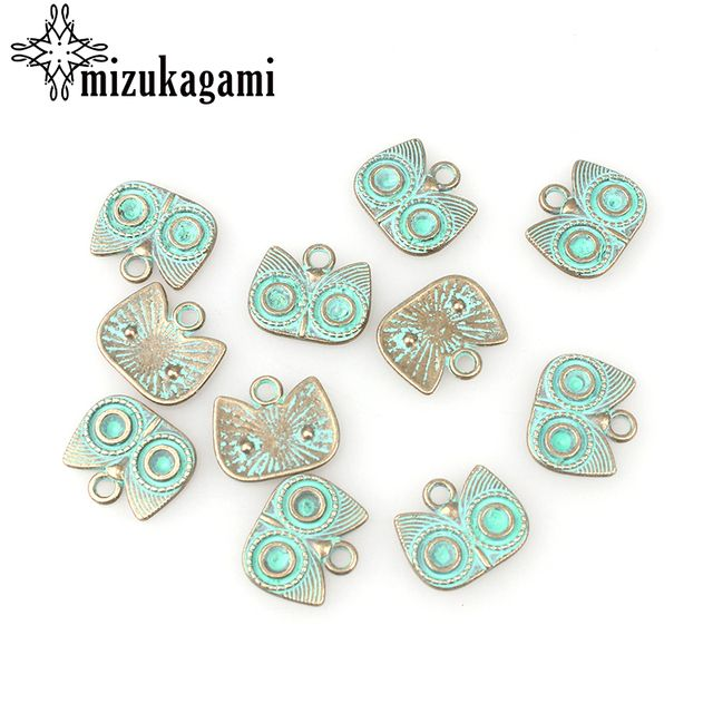 30pcs/lot 15MM Retro Verdigris Patina Plated Zinc Alloy Green Owl Charms For DIY Jewelry Accessories Free Shipping