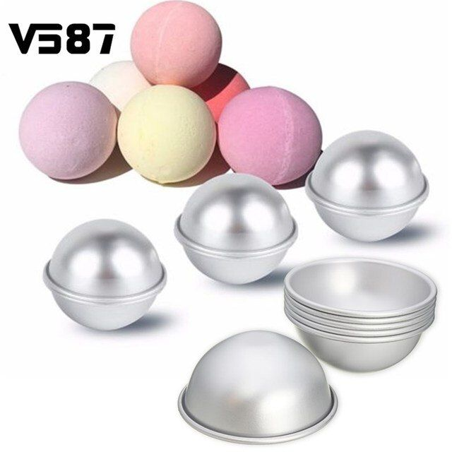 6 pcs/set Spherical Bath Bomb Mold 3D Aluminum Alloy Ball Cake Puddings Pan Tin Baking Pastry Mould 6.5cm Diameter