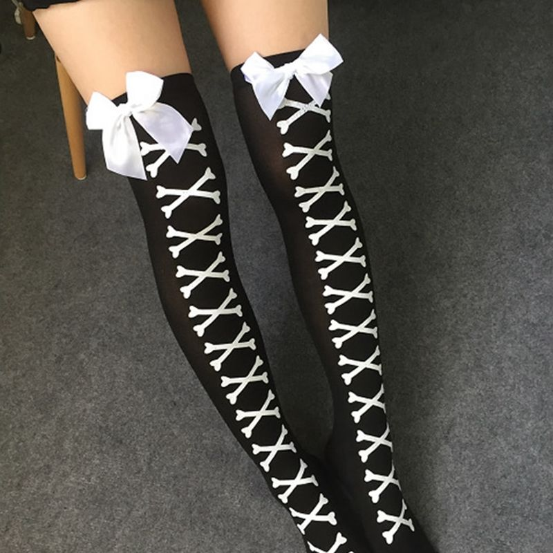 Women Sexy Cosplay Striped Knee stockings Japanese Printed Thigh High stockings Women Knee Pantyhose Skeleton