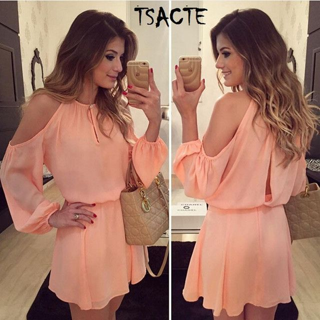 2017 New Style Summer Pink Dress Sexy Off Shoulder Long Sleeve Tunic Women Chiffon Dress Russion Casual Vestido Round halter