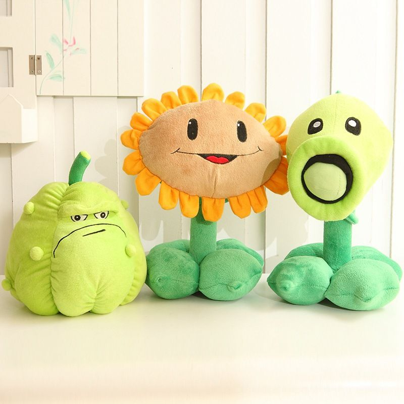 Promotion 30cm Plants vs Zombies pvz Pea Shooter Sunflower Squash Stuffed Plush Toy free shipping