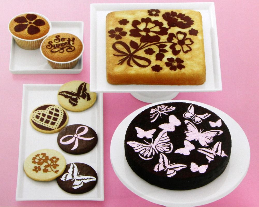 Butterfly/Flower Plantilla Stencil Bakeware 8PCS/SET Baking Fondant Cake Decorating Tools for Cupcake Template Mold Spiral