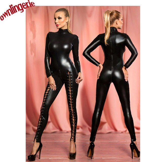 Sexy black faux leather zipper crotch bodysuit,high collar catsuit catwomen tight bodysuit,thigh high key hole bandage jumpsuits