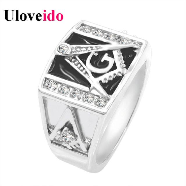 Silver Plated Black Enemel Masonic Rings Punk Free Mason Ring for Men Anillos Mujer CZ Diamond Anel Feminino Christmas Gift Y156