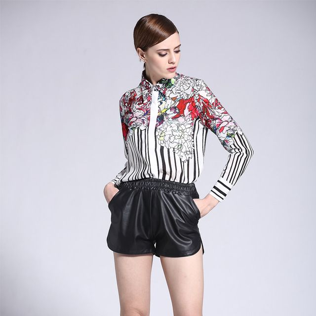 Plus Size XXXL Flower Printed Turn-down Collar Striped Casual Fashion Summer Women Slim Shirt Ruway Chiffon Blouse High Quality