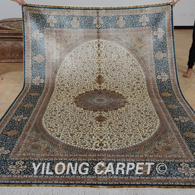 Yilong 6.56'x9.84' Vantage handmade silk persian rug beige antique turkey carpet (0304)