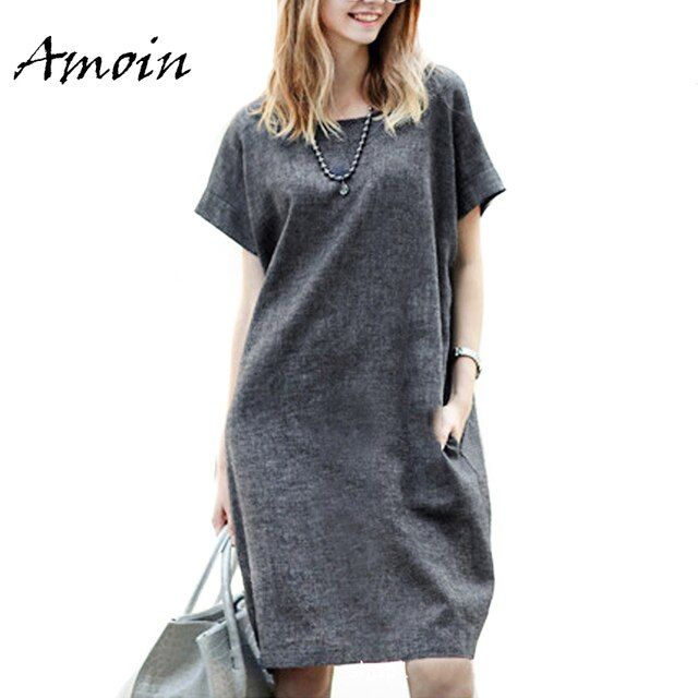 Amoin Plus Size 5XL Women Gray Short Sleeve Dress With Pockets Fashion Summer Cotton and Linen Loose Casual Knee Length Dress