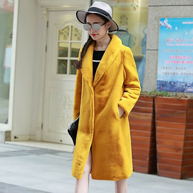 Nerazzurri Women Long Faux Fur Coat 2017 Winter Turn-down Collar Furry Artificial Fur Jacket Yellow Synthetic Mink Fur Clothing