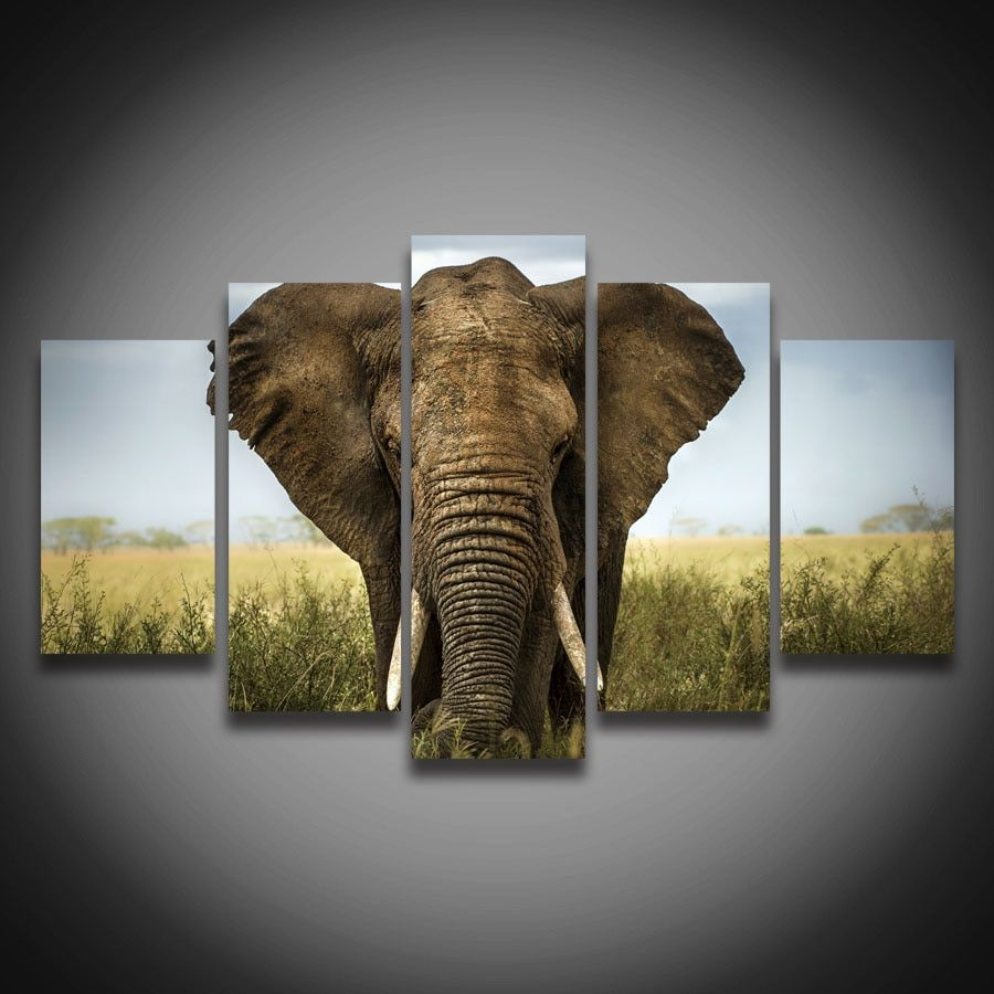 Printed modern style African elephant animal painting on canvas 5 pcs landscape wall decor large Canvas art Print poster