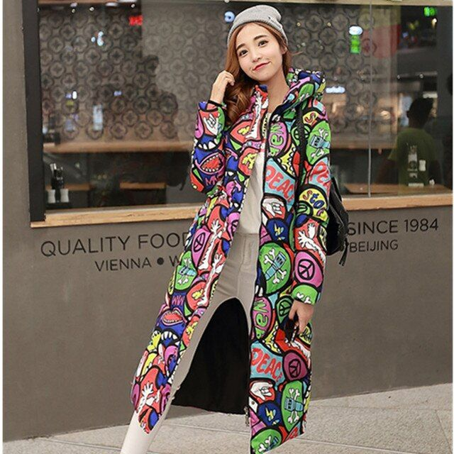 2016 winter women's printing thickening extended knee-high cotton-padded coat down female cotton-padded jacket coat
