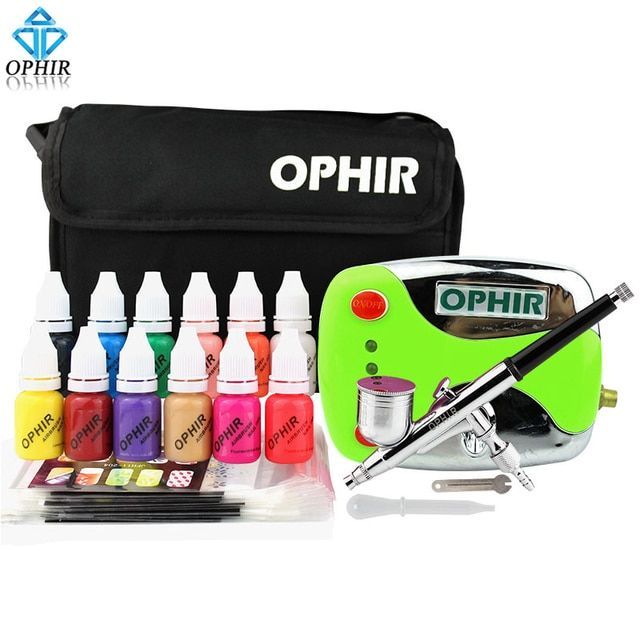 OPHIR 0.3mm Nail Art Airbrush Kit with Air Compressor 12 Color Inks 20 Airbrushing Stencils & Bag & Cleaning Brush Nail Tool Set
