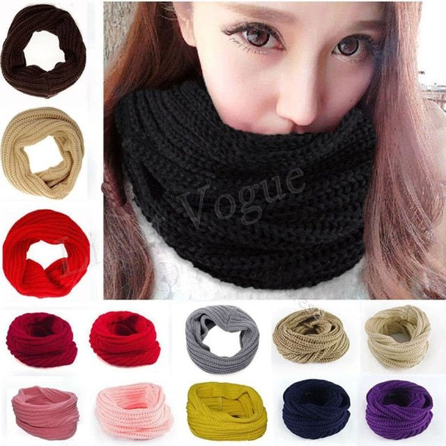 Women Fashion Winter Warm Infinity Circle Cable Knit Cowl Neck Long Scarf Shawl