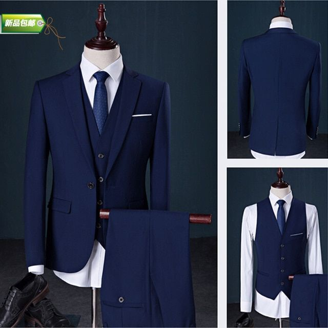 2016 New Spring Men plus size suits Male Suits 3 piece set Fashion Casual Suit The groom wedding slim formal dress