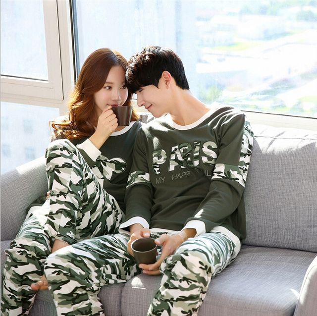 2016 Fashion Couple Pajamas Sets Camouflage Print Long Sleeve Lovers Spring Autumn Homewear Adult Pyjamas Sets