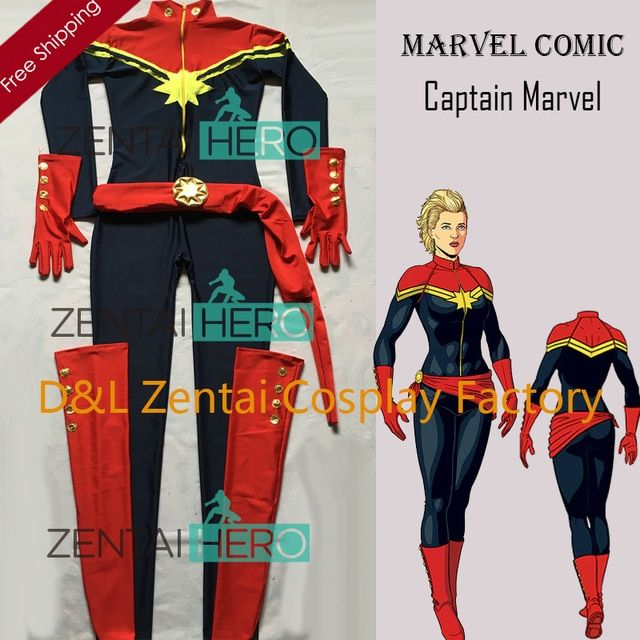 Free Shipping DHL New Navy Blue And Red Spandex Ms. Captain Marvel Superhero Costume For 2016 Halloween Costume MCC009
