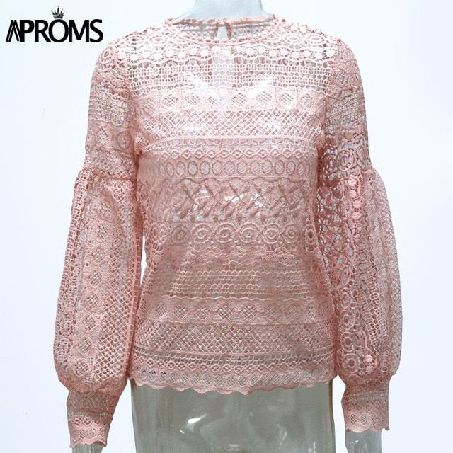 Aproms Vintage White Crochet Lace Blouse Women Tunic Top Casual Hollow Lantern Sleeve Pink Tops Girls Elegant Shirt Blusas