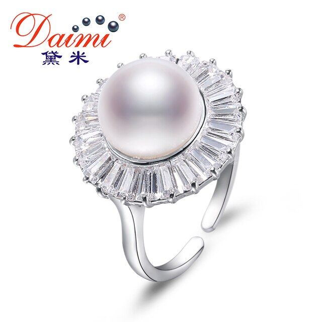 Daimi 10-11MM White Freshwater Pearl Ring Big Fashion Style Gift For Women Natural Pearl Ring