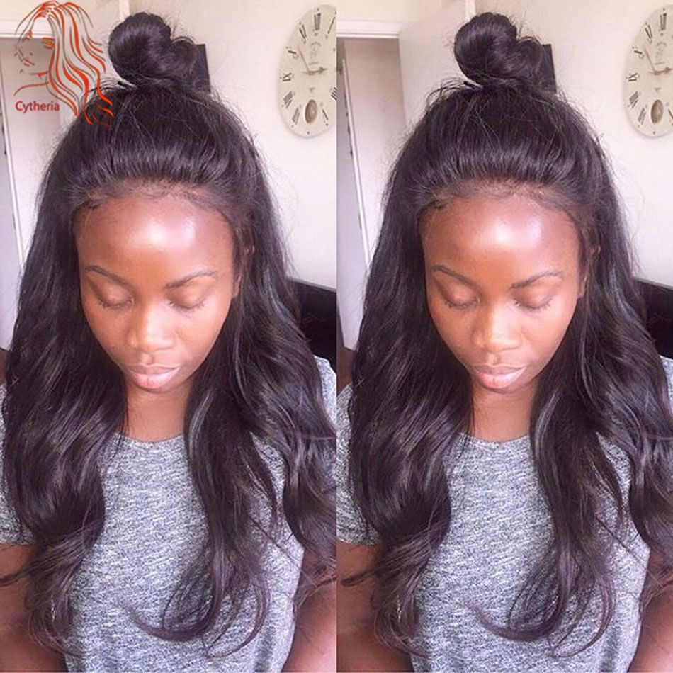 Grade 8A Natural Wavy Full Lace Wig For Black Woman Unprocessed Malaysian Hair Wavy Lace Wigs Glueless Full Lace Human Hair Wig