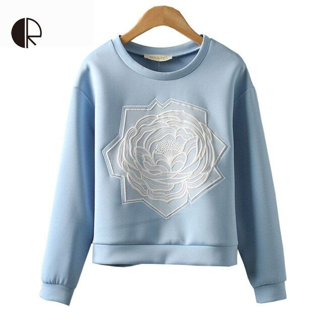 Women Clothing 2015 Fashion Hoodies European Style Ice Cream Color Space Cotton Long Sleeve Embroidered Flowers Sweatshirt WH193
