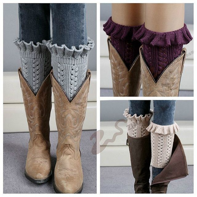 Hot Winter Short Liner Boot Socks Women Crochet Knitted Boot Cuffs Toppers Knit Leg Warmers Ankle Warmers Sock thick leg warmers