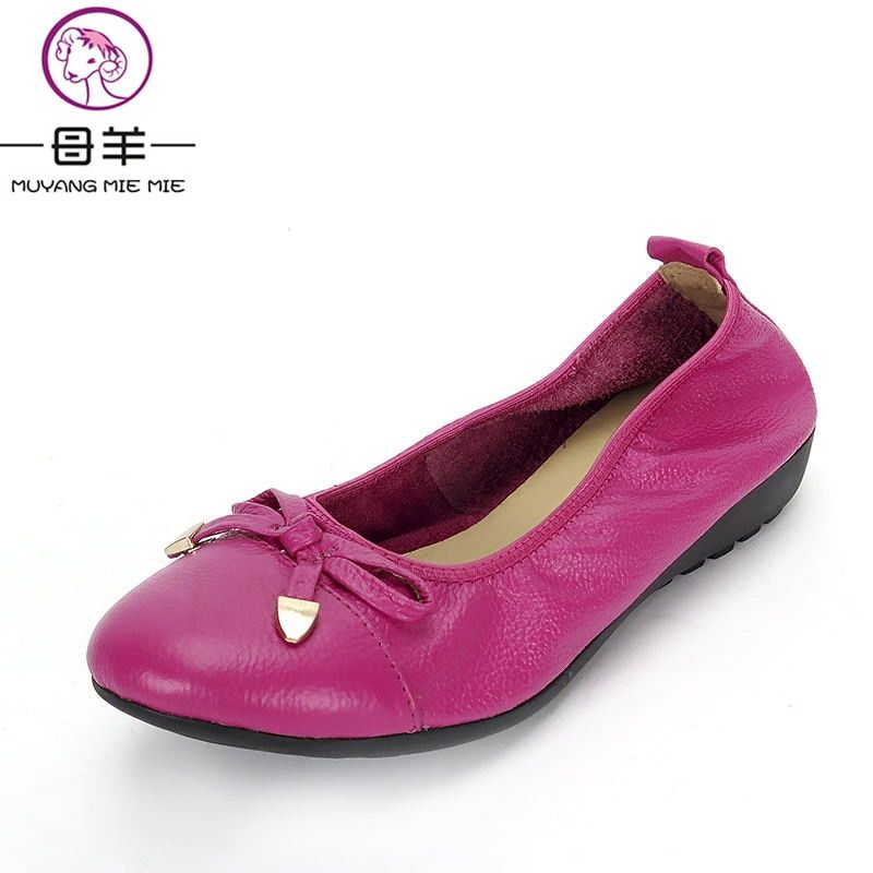 MUYANG Chinese Brand Women Genuine Leather Flat Shoes Woman Loafers,Women Shoes Handmade Maternity Casual Shoes Women Flats