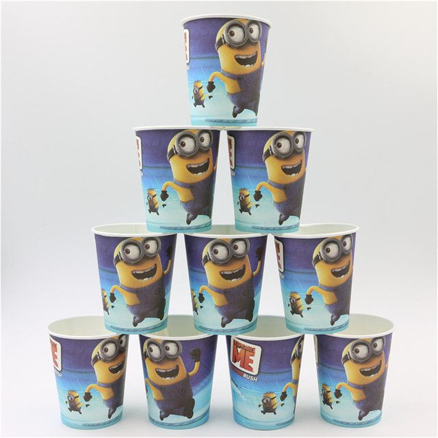 baby shower 8pcs/lot  minions party supplies  disposable drinking cup/glass happy birthday party decoration kid's favor