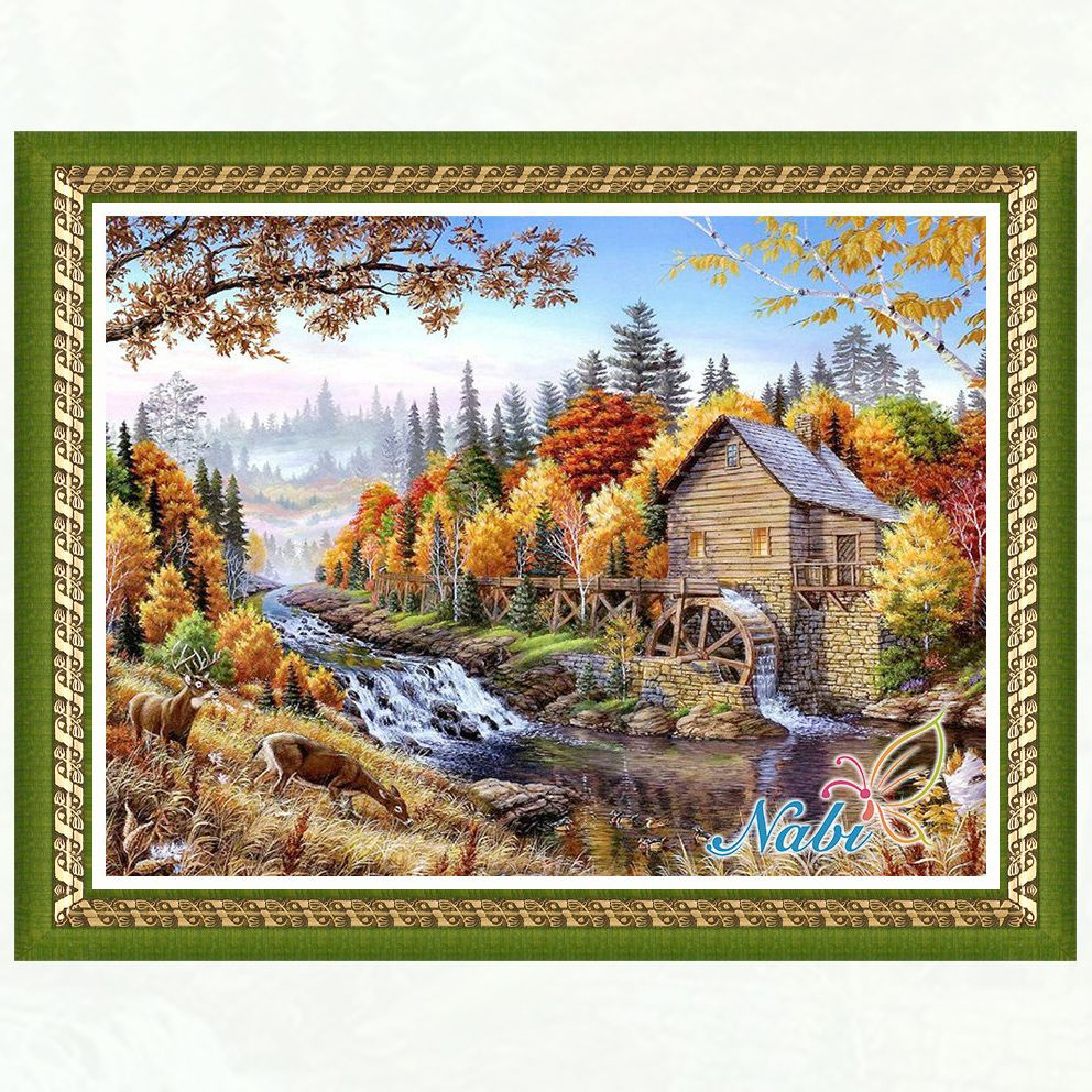 houses printed  beads pictures 3368R - Square diamond mosaic painting Diamond embroidery cross stitch