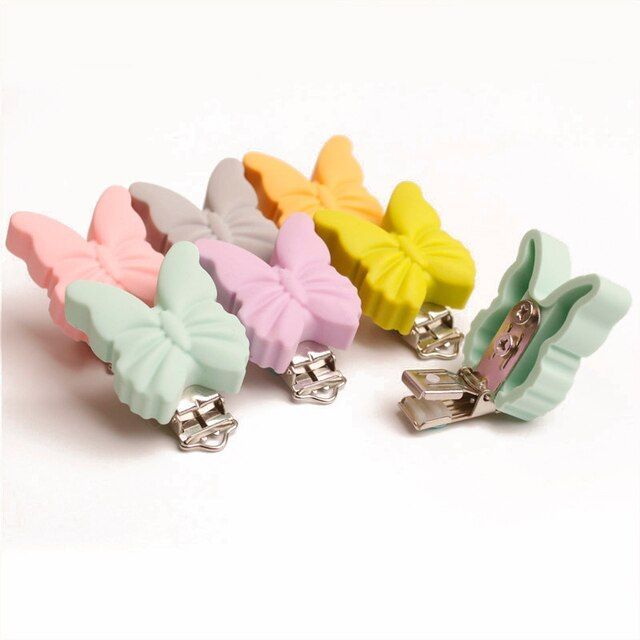 Silicone Baby Pacifier Clip Butterfly Pink Pacifier Clips Metal Clips Soother Clips For Baby Teeth Gifts