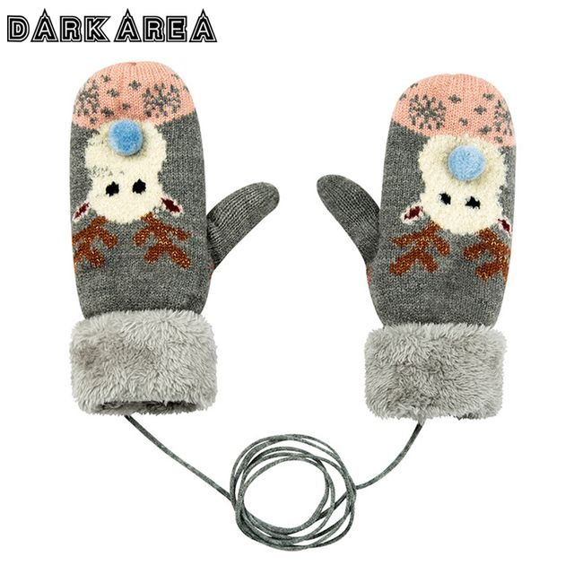 DARKAREA Winter Women Mittens Plus Cashmere Knitted Gloves Winter Gloves With Christmas Elk Pattern Lanyard Warm Female Mittens