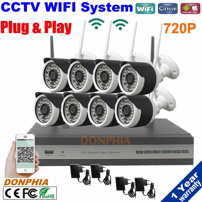 1.0MP 720P Wireless WIFI IP CCTV Security Camera 8CH NVR System P2P Kit Wifi IP Camera Nvr set for home office factory security