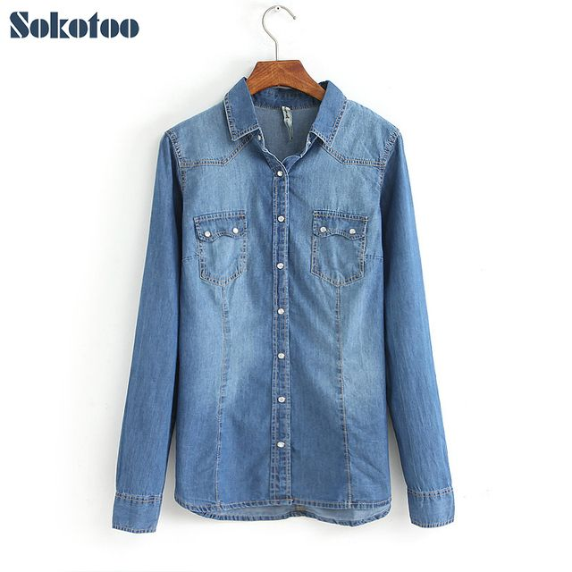 Sokotoo Women's fashion slim denim shirt Female long-sleeve plus size turn down collar blouse Free shipping