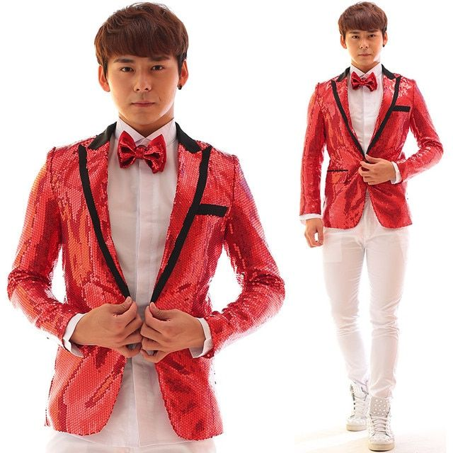 Intersect V Collar Red Sequins Men Jacket  Dj Ds Bar Nightclub Male Singer Stage Show Coat  Individuality Unique Slim Costume