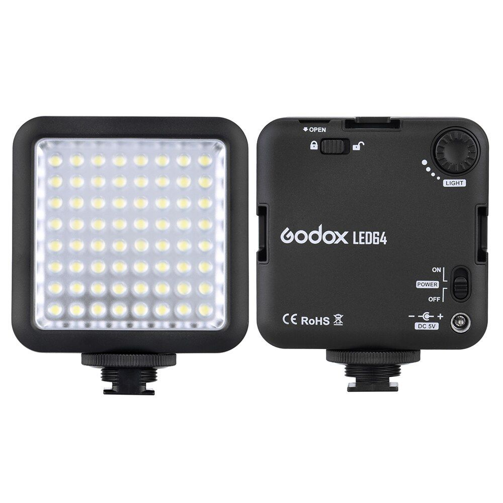 Godox LED64 LED Video Light for DSLR Camera Camcorder mini DVR as Fill Light for Wedding News Interview Macro photography