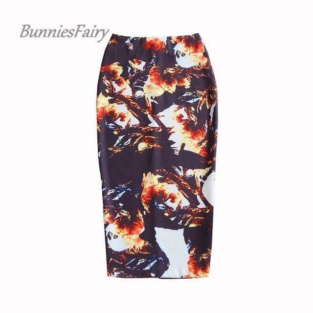 BunniesFairy 2016 New Fashion Womens Vintage Skirts Retro Flower Floral Print High Waist Long Pencil Skirt Casual Wear Clothing
