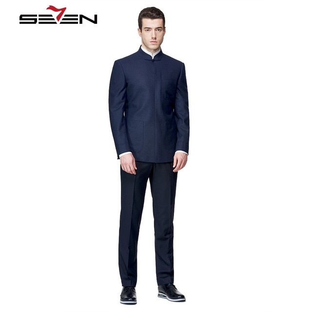Seven7 Fashion Men Suits Blazer Chinese Style Mandarin Collar Elegance Tailor Made Suits Set High Business Dress Suits