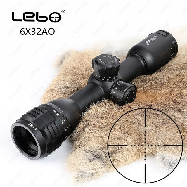 LEBO 6x32 AO Mil-Dot Glass Etched Reticle Compact Lock Tactical Optical Sight Rifle Scope For Hunting Riflescope