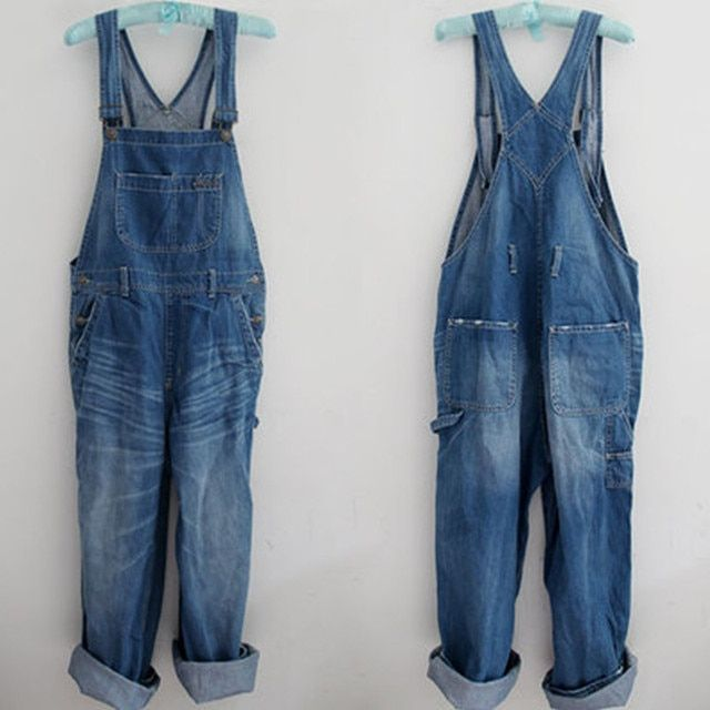 Free Shipping 2017 New Fashion Long Jumpsuit and Rompers Loose Denim Bib Pants Spaghetti Strap Pants Spring And Autumn Overalls