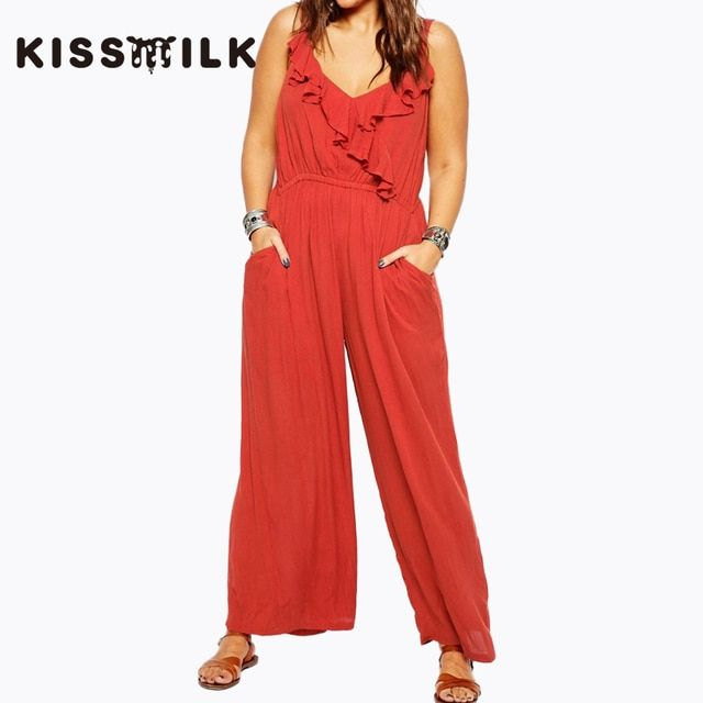 2017 New Fashion Plus Size Rompers Womens Jumpsuit Summer Sleeveless Solid OL Overalls For Women Bodysuit Women 3XL 4XL 5XL 6XL